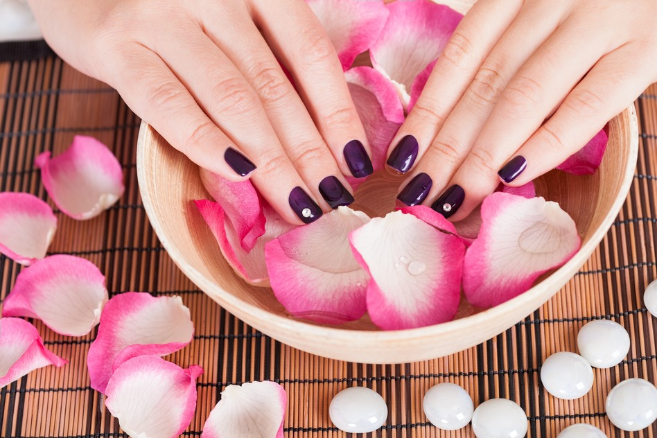 Female hands with manicured fashion nails with purple varnish in a bowl of rose petals and water in a spa beauty treatment concept